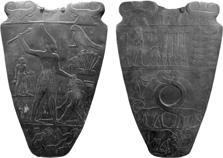 The Narmer Palette showing Menes conquering all Egypt
